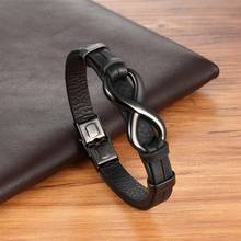 Punk Classic Braided black Design 8 shape Men Leather Bracelet Stainless Steel Magnetic Clasp Charms Fashion