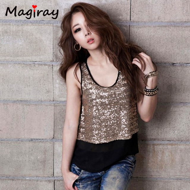 414a3f3074c7e7 Plus Size Shimmer Glam Sequin Embellished Sparkle Tank Top Vest Summer Women  Tops Sleeveless Party Blouse blusas femininas C335