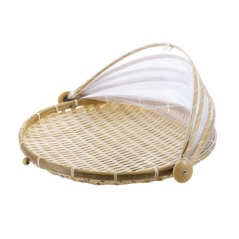 1Pc Hand Woven Bug Proof Basket Dustproof Picnic Basket Handmade Fruit Vegetable Bread Cover Wicker Basket With Gauze