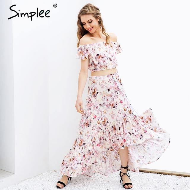 Simplee Off shoulder print summer dress suit Sexy ruffle crop top asymmetrical long dress Two-piece suit robe femme vestidos
