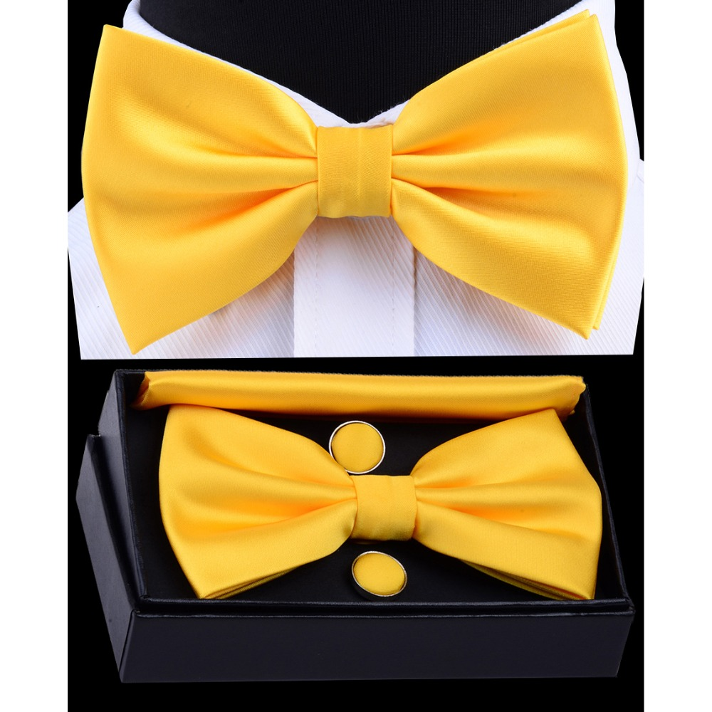 Ricnais Men's Pre-tied Bow Tie Set Solid Bowtie Pocket Square Cufflinks With Box Waterproof Fold For Man Yellow Red For Wedding