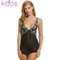Avidlove Brand Women Nightdress Sexy Lace Lingerie Sleepwear Backless Deep V Neck Babydoll Dress Nightgown Nightwear