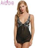 Avidlove Brand Women Nightdress Sexy Lace Lingerie Sleepwear Backless Deep V Neck Babydoll Dress Nightgown Nightwear