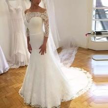 FANGDALING 2019 Vintage Three Quarter Sleeve Wedding Dress