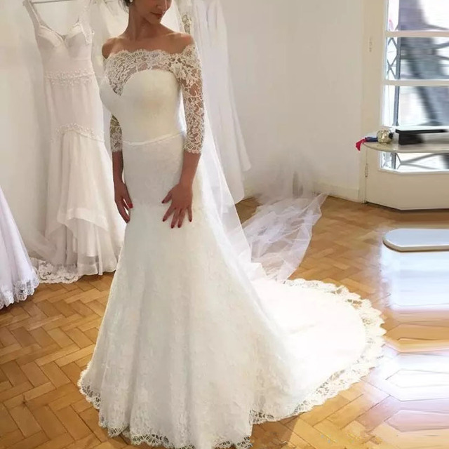 Vintage Three Quarter Length Wedding Dresses: 2019 Vintage Lace Three Quarter Sleeve Wedding Dress