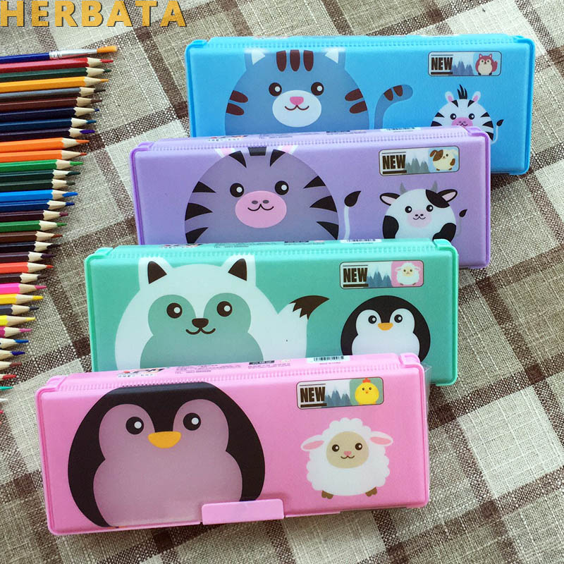 School Cute Pencil Case For Students Double-sided Plastic Password Lock Stationery Storage Boxes Gift  4 Colors Big Size