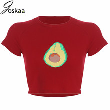 цена на Avocado Print Red O Neck Crop Tee Top Women Summer Casual Outwear Streetwear
