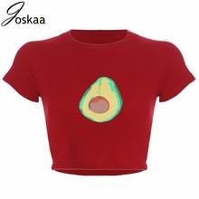 Avocado Print Red O Neck Crop Tee Top Women Summer Casual Outwear Streetwear avocado print pillowcase