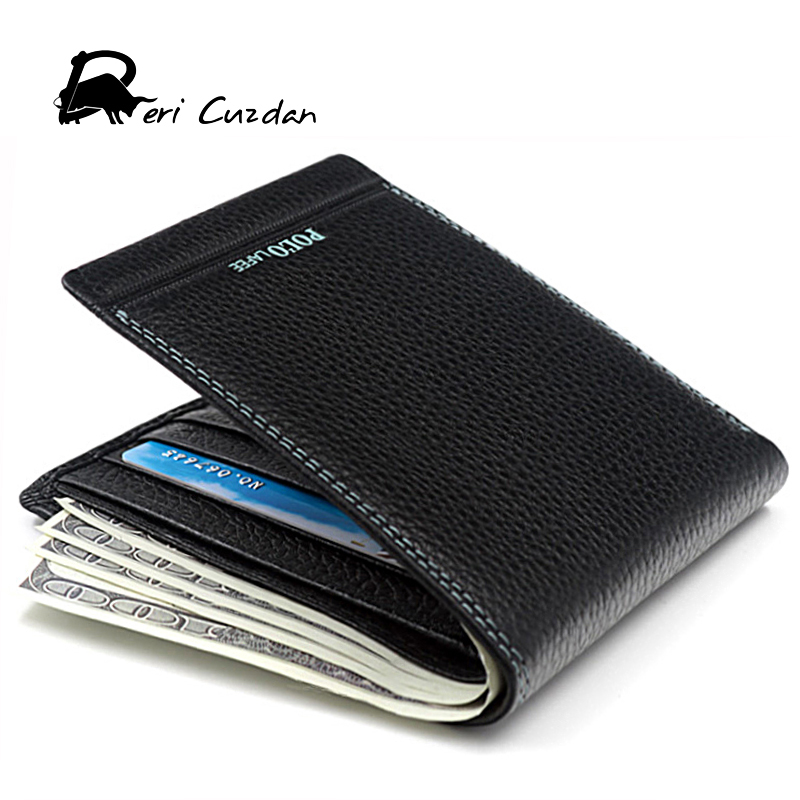 DERI CUZDAN Luxury Brand Wallet Mens Genuine Leather Wallets for Money and Cards Polo Male Purses Money Bags Clip Portfolio Men