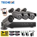 Techege 4CH 720P AHD DVR CCTV 1080p HDMI w 4pcs AHD 720P 1300TVL IR Weatherproof CCTV Camera Security System Surveillance Kits
