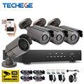 Techege 4ch 720 p ahd cctv dvr 1080 p hdmi w 4 unids AHD 720 P 1300TVL IR Resistente A la Intemperie Cámara CCTV Sistema de Vigilancia de Seguridad Kits