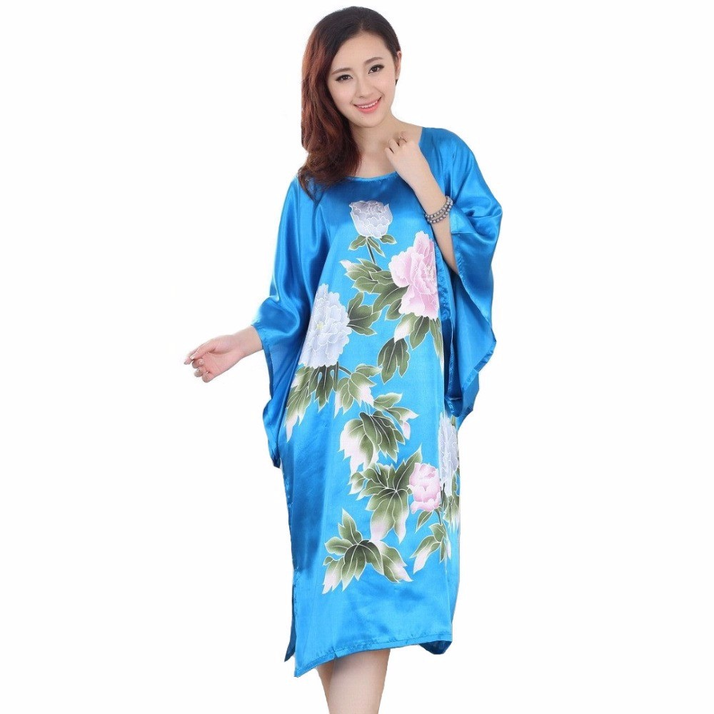 Free Shipping Blue Painting Chinese Womens Silk Gown Robe Nightgown Yukata Flower One Size S4027