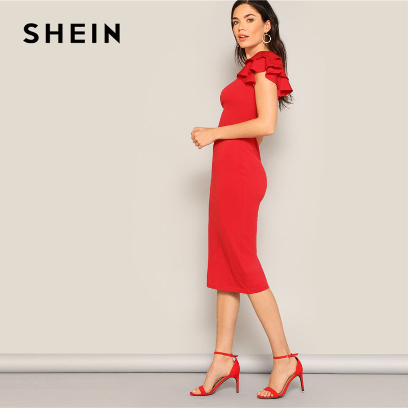 Image 2 - SHEIN Red Layered Ruffle Sleeve Crisscross Back Bodycon Dress Women Summer Elegant Sleeveless Solid Slim Midi Party Dress-in Dresses from Women's Clothing