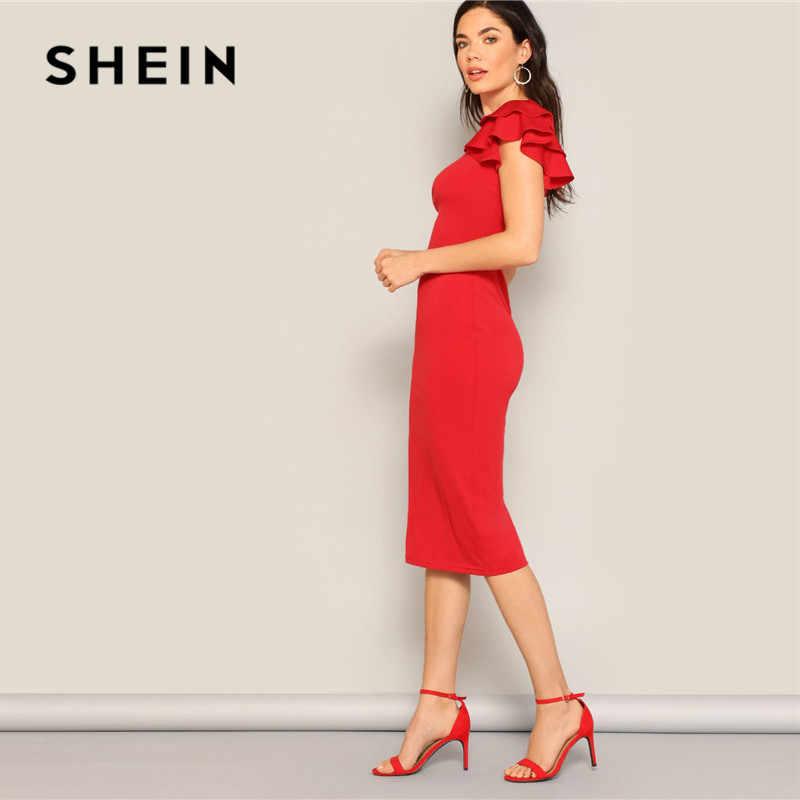 SHEIN красное многослойное платье с оборками на рукавах, спинка крест-накрест облегающее платье Для женщин Летнее Элегантное платье без рукавов тонкий миди вечерние платья