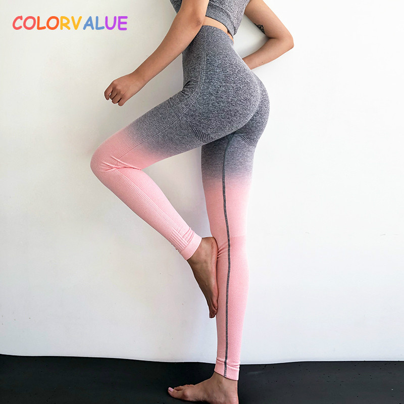 cf2c5107f4770 Colorvalue Ombre Seamless Gym Compression Tights Women Tummy Control  Fitness Workout Leggings Squatproof Hip Up Jogger Pants