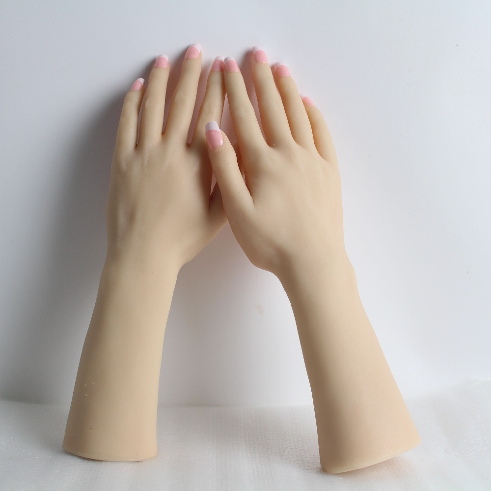 Realistic Female Soft Silicon Flexible Mannequin Hand For Ring Bracelet And Glove Display