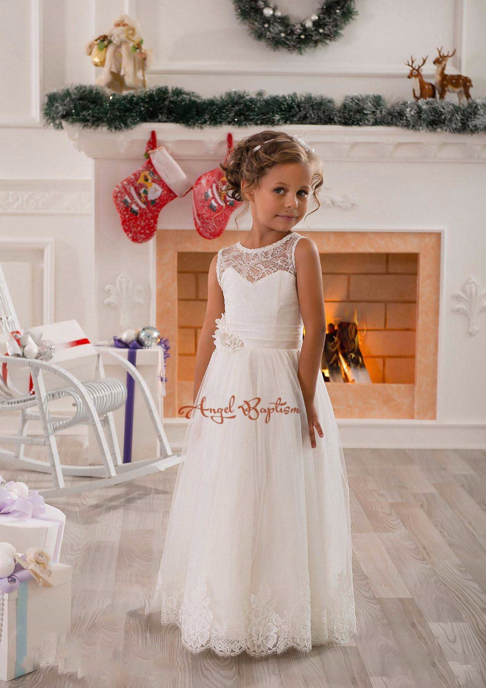 Flower Girls A-Line White Satin Lace First Communion Dress Gown Wedding  Easter