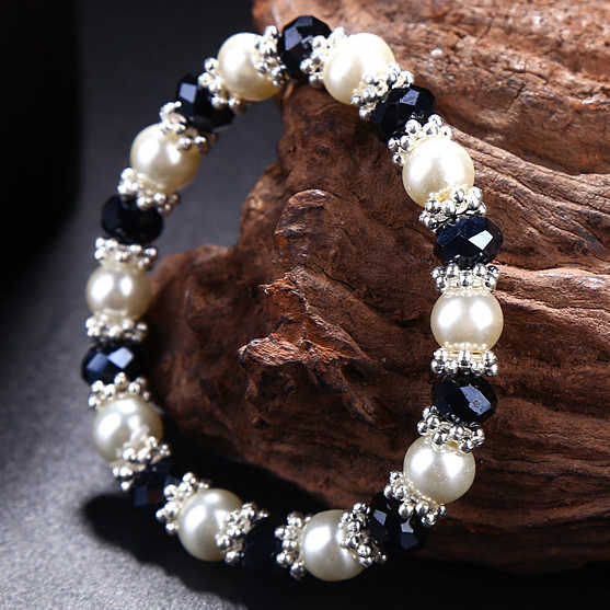 High quality Crystal pearl hipanema bracelet,Simple pearl Crystal Strand infinity Bracelets,Women liberty crystal braid bracelet