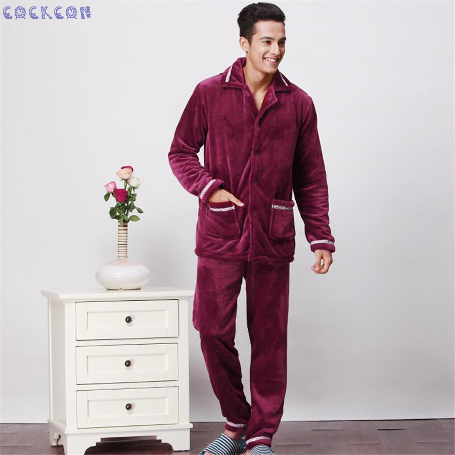 COCKCON Pijama hombre Winter thickening mens pajama sets sleepwear male flannel sleep set coral fleece lounge 601318