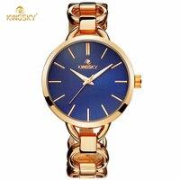 Kingsky модный бренд Для женщин часы из розового золота сплава кварцевые часы Популярные синий Цвет Циферблат Дамы браслет Часы Montre Femme