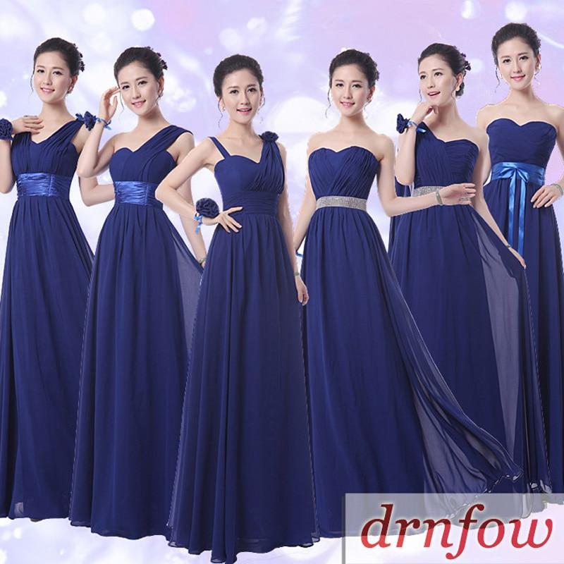 Drnwof New Chiffon Long Royal Blue Bridesmaid Dresses 2017 Plus Size Fashion Summer Style One Shoulder Elegant Women Dress In From