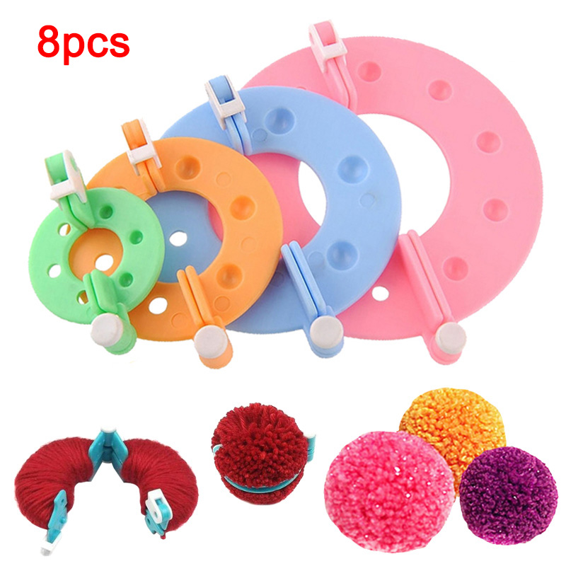 8pcs Hot Multifunctional Pompom Maker Kit Knitting Crafts Different Sizes Plush Ball Making Tool @LS AU02