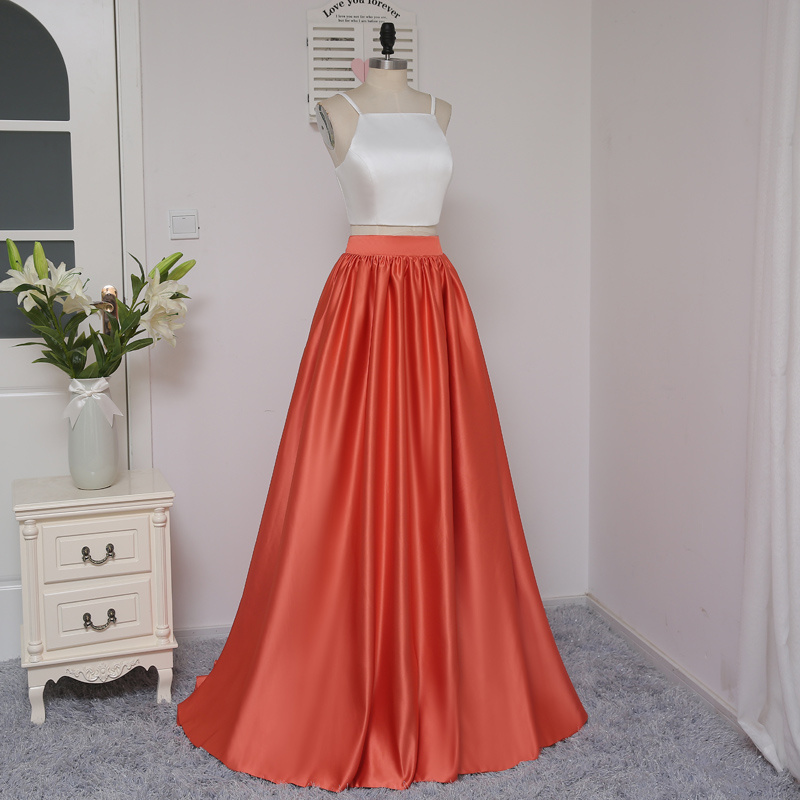 HVVLF 2018 Formal Celebrity Dresses A-line Spaghetti Straps Two Pieces White Red Two Pieces Famous Red Carpet Dresses