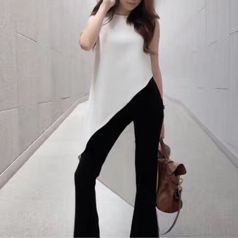 TWOTWINSTYLE Chiffon Shirt For Women Sleeveless Asymmetrical Large Size Dovetail Shirts Female 2019 Summer Fashion OL Clothing