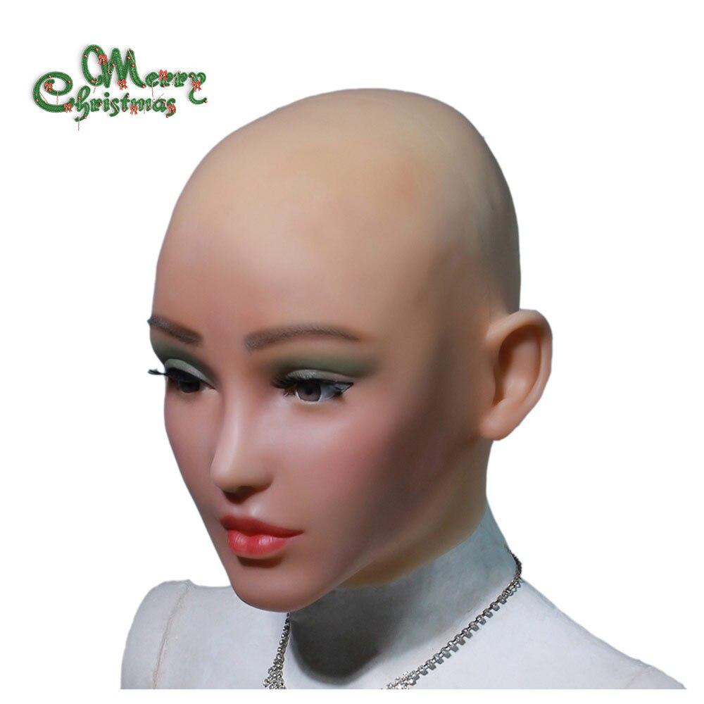 YR-H-Elsa di angelo del silicone del fronte realistico della pelle femminile di ballo di Halloween masquerade cosplay drag queen crossdresser maschio a femminile