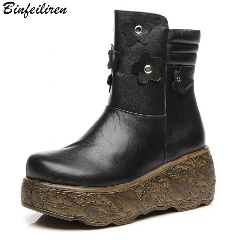 Binfeiliren Retro Women Leather Boots Winter Warm Plush Insole Mid Calf Boots For Women 7 CM High Heels Wedge Snow Boots Sale double buckle cross straps mid calf boots