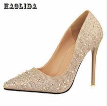 2017 New Fashion Sexy Women Silver Rhinestone Wedding Shoes Platform Pumps Red Bottom High Heels Crystal Shoes Gold Black Pink