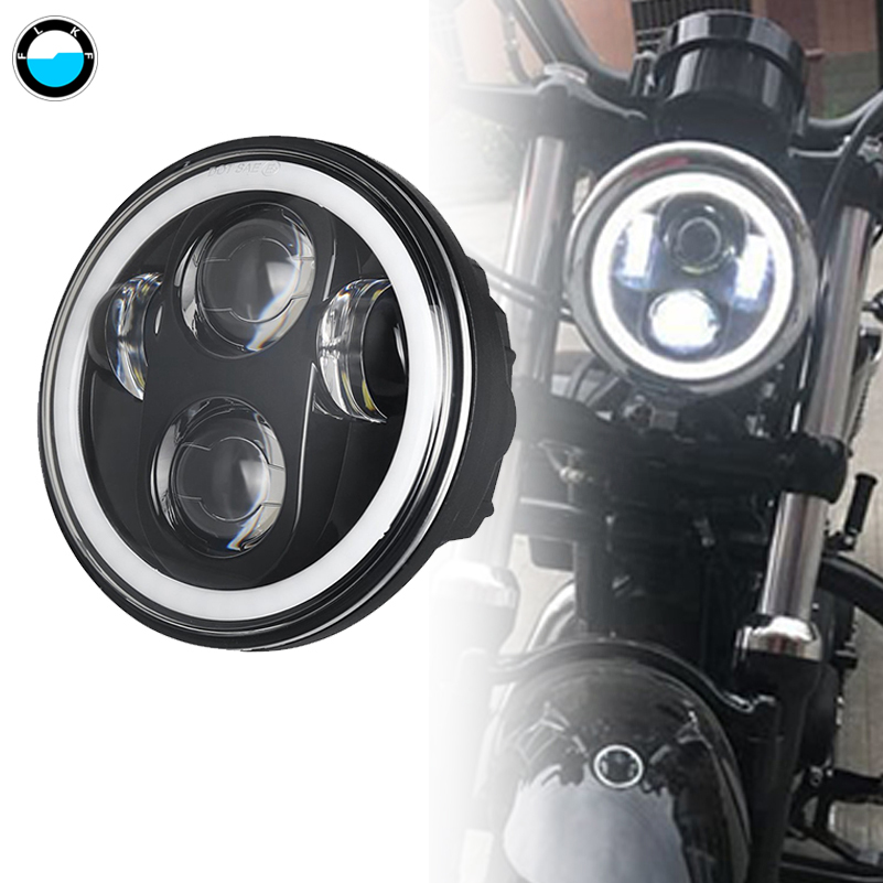 5.75 inch Motorcycle LED Projector Halo Headlight For Dyna Sportster 5 3/4 40 w motor anjo olho.