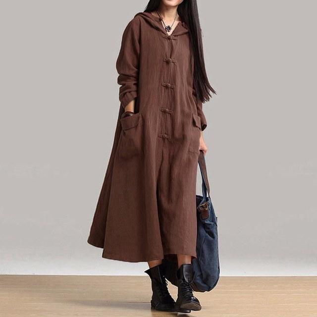 59b1482f96c ZANZEA Autumn Winter Women Dress New 2017 Vintage Casual Loose Maxi Long Dress  Ladies V Neck