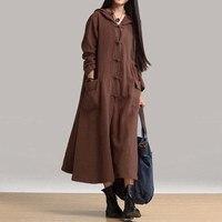 ZANZEA Herbst Winter Frauen Kleid Neue 2017 Vintage Beiläufige Lose Maxi Langes Kleid Damen V-ausschnitt Langarm Mit Kapuze Baumwolle Vestidos