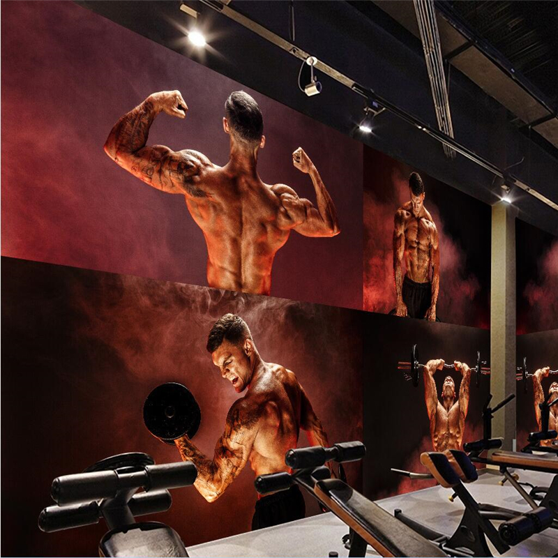 Beibehang Large Custom Mural Wallpaper Of Any Size Creative Personality Muscular Handsome Guy Gym Yoga Cafe American Style Wall