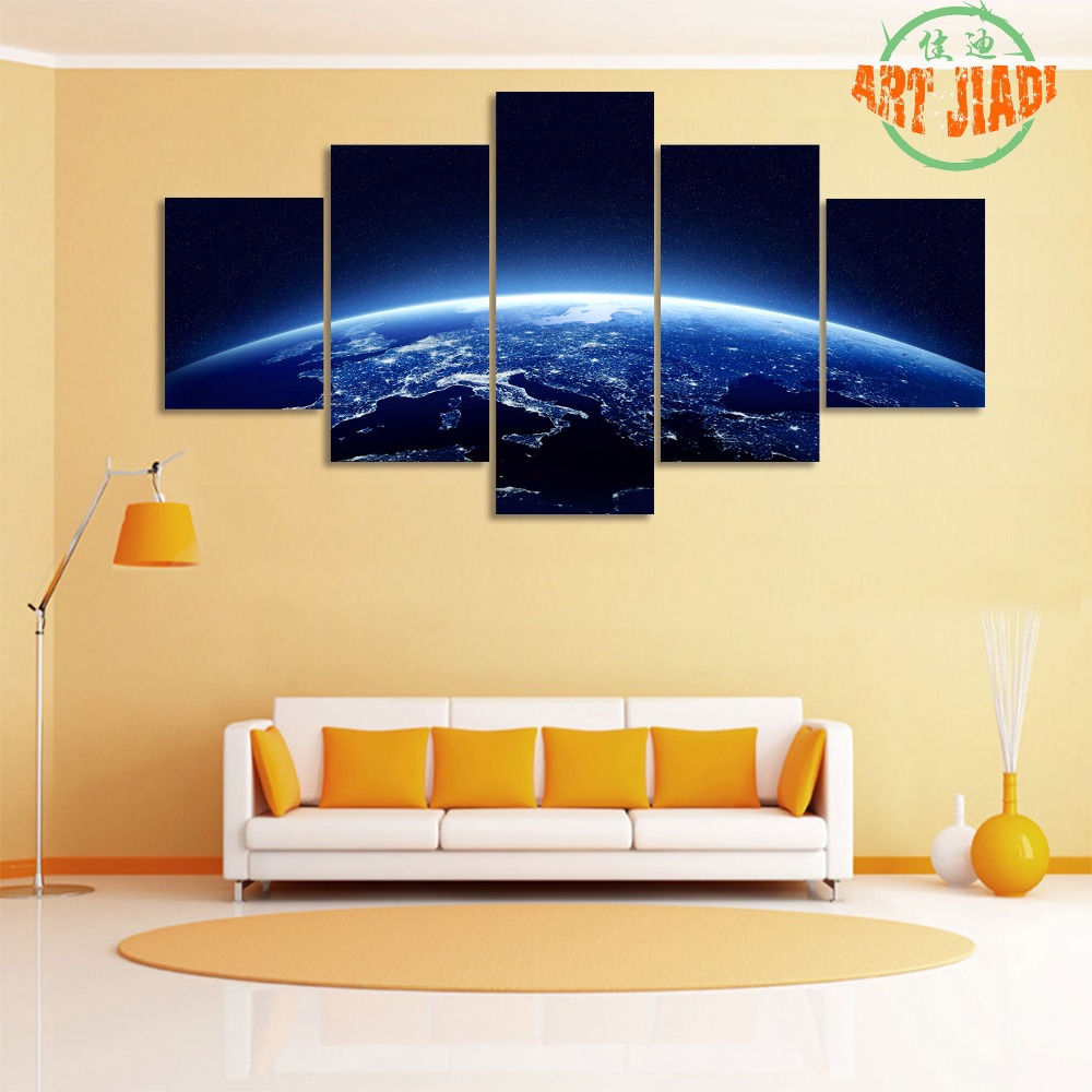 Earth At Night As Seen From Space 4 5 Pieces/sets Canvas Art Canvas ...