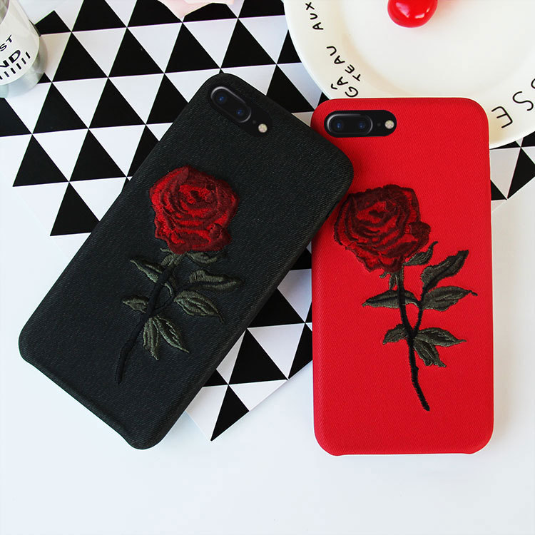 pretty nice 959b7 ba128 US $2.45 10% OFF|Embroidered Rose New Mobile Phone Case Back Cover Type  Imitation Leather Phone Case for iPhone 6 6s 6P 6sP 7 7P 8 8P X-in ...