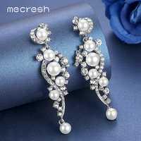 Mecresh luxe simulé perle longues boucles d'oreilles pour les femmes couleur argent plante cristal pendentifs goutte boucles d'oreilles bijoux de mariage MEH777