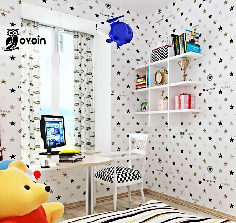 Cartoon England Design Kids Bedroom Wallpaper Modern Non Woven Star Pattern Wall Paper For Boy And Girls Room Wallcovering non woven bubble butterfly wallpaper design modern pastoral flock 3d circle wall paper for living room background walls 10m roll