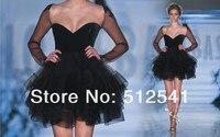 Черные платья для выпускного вечера с длинными рукавами, короткое милое платье из органзы, vestido de formatura, модные женские вечерние платья из тю