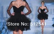 Long Sleeves Black Homecoming Dresses A Line Short Sweetheart Ruffle Organza Fashion Women Gowns yk8R002