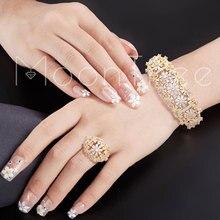 MoonTree Shiny Voll Zirkon Blumen AAA Zirkonia Gold Schmuck Kupfer Party Saudi Arabisch Dubai Armreif Ring Set Hochzeit