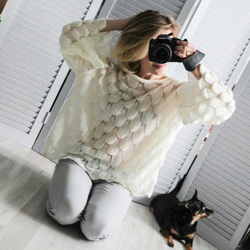 Hirsionsan Elegant Sweater Women 19 Casual Fashion Loose Women Sweaters and Pullovers Cute 3D Pink White Jumper Sueter Mujer 3