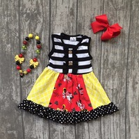 New Arrival Summer Cotton Baby Girls Kids Boutique Clothes Dress Sets Stripe Mouse Print Polka Dot