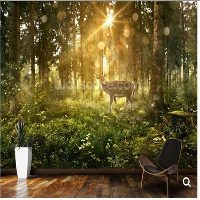 Children's room wallpaper,Sun forest and deer ,natural
