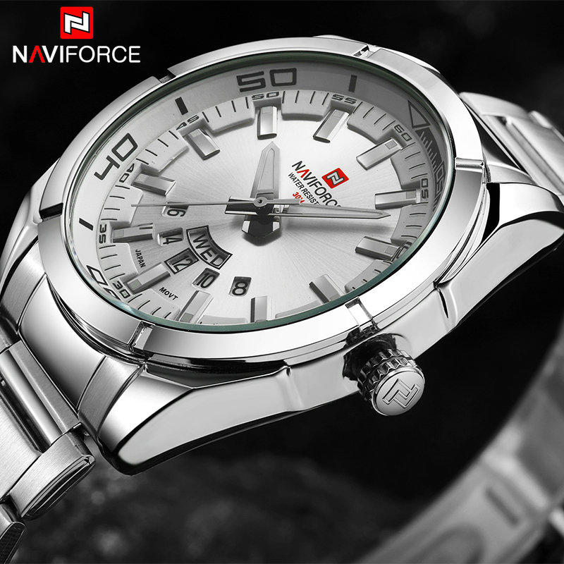2018 NAVIFORCE Top Brand Analog Quartz Wrist-Watch Men Silver-Steel Date Clock Mens Waterproof Sport Watches Relogio Masculino 1pcs original new lcd with digitizer assembly for huawei p8 max lcd display touch screen replacement parts with free tools