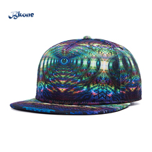 BKONE Adjustable 3D Baseball Caps Snapback Flat Brimmed Evil Eyes Print Street Casquette Unisex Hip Hop Sun Hat