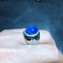 Классическое блестящее сапфировое кольцо из драгоценных камней с синими звездами для мужчин, мощное мужское кольцо, хорошее ювелирное изделие из серебра 925 пробы
