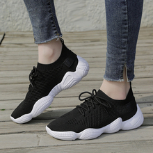AME Breathable Black White Pink Women Sneakers Vulcanize Shoes Platform Female Footwear Sock KZ008