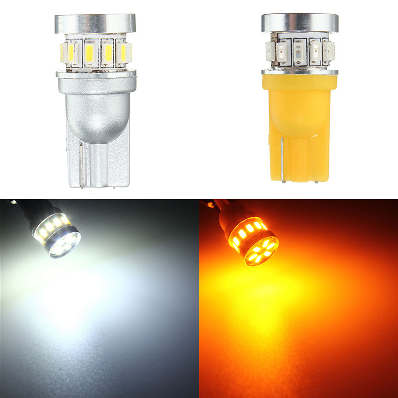 T10 2.5W 3014 18SMD Car LED Lights Bulbs Lamp Canbus Error Free Interior License Plate Instrument Pure White/Amber 6500K DC 12V t10 3w 144lm 6 x smd 5630 led error free canbus white light car lamp dc 12v 2 pcs